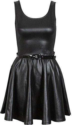 Neue Frauen Shinny Wetlook PVC Röcke Ober kleid 44-46 Wet Look Skater Dress