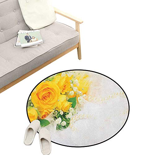 Yellow Custom Round Carpet ,Bouquet of Romantic and Colorful Roses on a White Background Adoration, The Custom Round Non-Slip Doormat 39