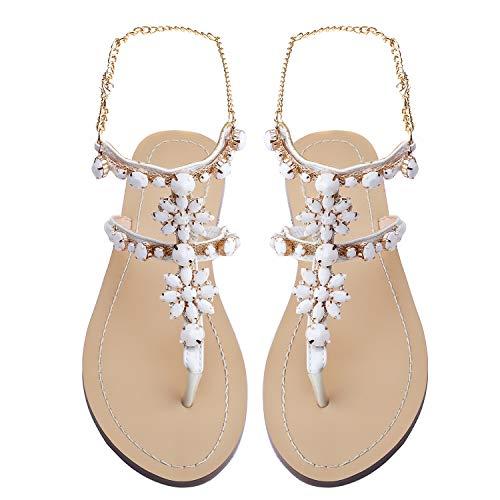 Odema Women's Crystal Diamond Rhinestone Bohemia Flip Flops Beach T-Strap Flat Sandals - White Crystal Rhinestone