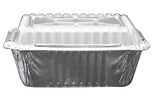 "100 Pack of Disposable Takeout Pans with Clear Lids – 1 Lb Capacity Aluminum Foil Food Containers – Strong Seal for Freshness – Eco-Friendly and Recyclable – 5x4"" Inch Drip Pans - By MontoPack by MontoPack (Image #4)"