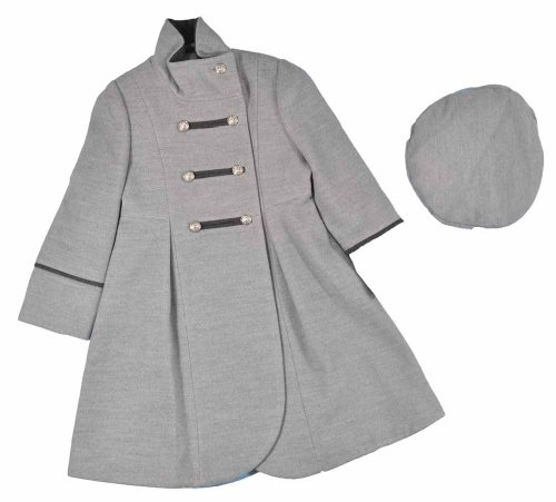 Rothschild Little Girls Gray Military Style Wool Coat With Hat ()