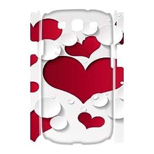 3D Vety Heart Shape Pattern Ilike Samsung Galaxy S3 Cases, {White}