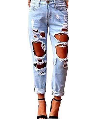 Pants Skinny Pantaloni Hellblau Giovane Basic Denim Con Chic Tasche Da Donna Vita Boyfriend Alta Fori Jeans qTaCzFw