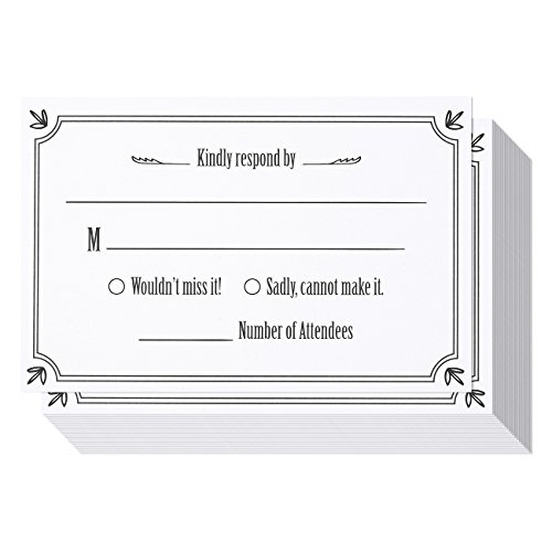 50 Pack RSVP Postcards, Blank Response Card, Wedding Return Cards - RSVP Reply for Parties and Receptions - Self Mailer Mailing Side Postcards 50 Cards Per Pack Postage Saver - (Response Cards For Wedding)