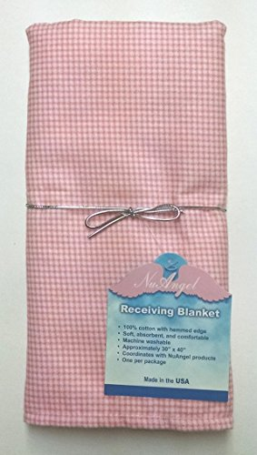 NuAngel Receiving Blanket - 100% Cotton Flannel - Pink -