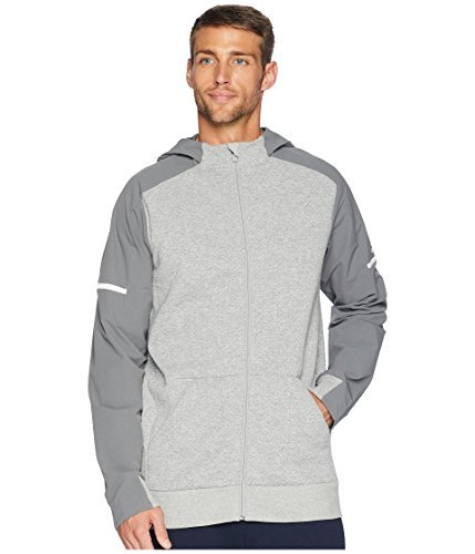 adidas Athletics Squad Full-Zip Hoodie, Medium Grey Heather/XX-Large by adidas