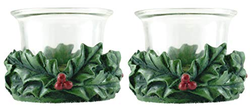 Party Explosions Festive Holly Christmas Votive Candle Holder - Set of 2