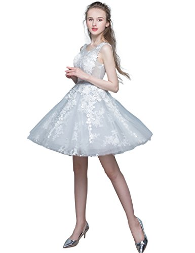 Spitze Erosebridal Abendkleid Grau Schulter Brautjunferkleid gqZwqfP