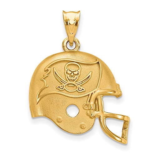 NFL Sterling Silver Gold-plated LogoArt Tampa Bay Buccaneers Helmet Pendant (Tampa Bay Buccaneers Gold Plated)