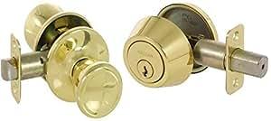 Callan KA3003 Brayden Series Grade 3 Keyed Entry Knob & Single Cylinder Deadbolt Set, Bright Brass