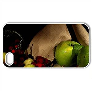 Fruits - Case Cover for iPhone 4 and 4s (Watercolor style, White)