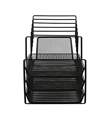 Exerz Premium Mesh Office Set of 4 PCS - 2 Tier Letter Tray/Filing/Paper Tray, Letter Rack, Pen Pot, Clips & Memo Pad Holder