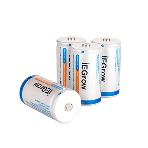 iEGrow D Batteries 11000mAh Ni-MH Rechargeable(4-Pack)