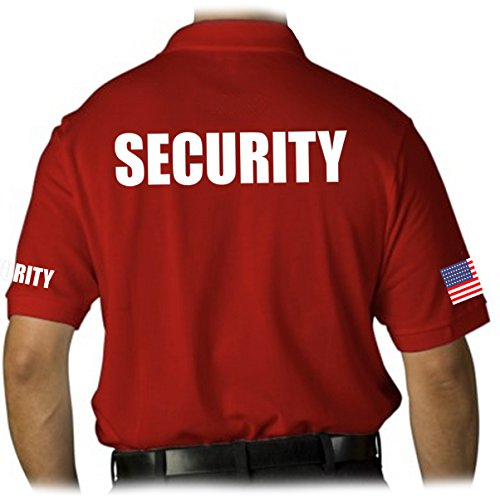 Gs-eagle Men's Security Polo Shirt With American Flag Large Red ()