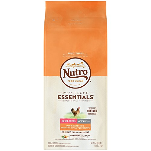 NUTRO WHOLESOME ESSENTIALS Natural Senior Small Breed Dry Dog Food Farm-Raised Chicken, Brown Rice & Sweet Potato Recipe, 5 lb. Bag