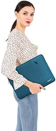 MOSISO Laptop Sleeve Bag Compatible with 13-13.3 inch MacBook Pro, MacBook Air, Notebook Computer, Water Repellent Polyester Vertical Protective Case with Pocket, Deep Teal
