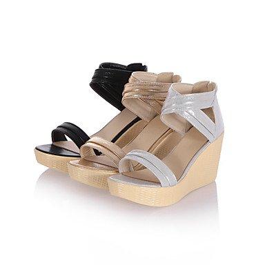 Dorado Casual Cuña PU Verano Mujer Plata Vestido 9'5 LvYuan Tacón 7'5 Confort Confort cms Negro Sandalias Gold xnXvnzR