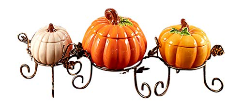 Pumpkin Table Centerpiece Bowl Set Thanksgiving Harvest Fall Home Kitchen Decor 4 ()