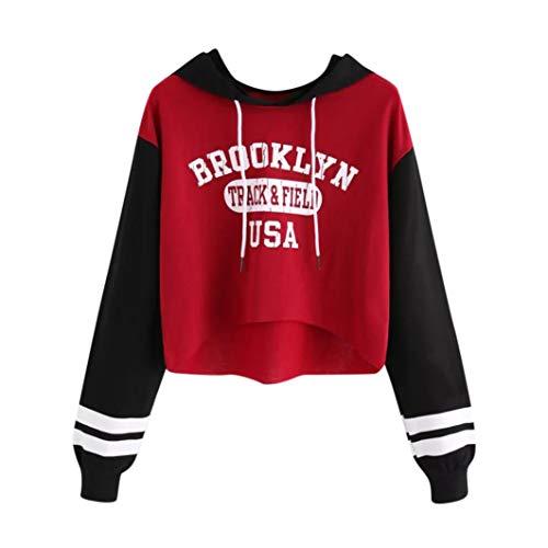 Leoy88 Brooklyn Women's Long Sleeve Lettered Hooded Sweater Top