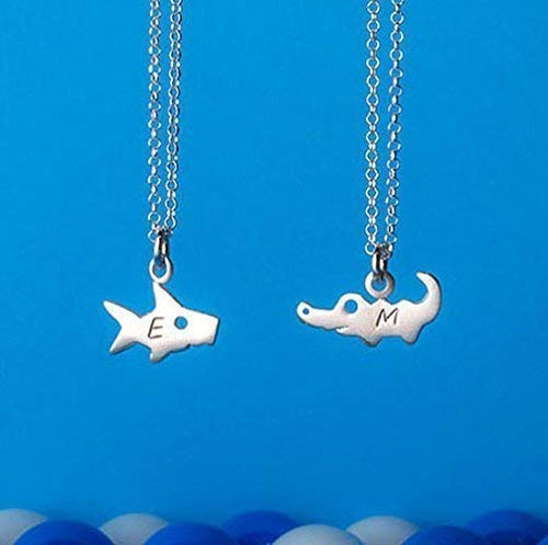 (Personalized Necklace in sterling silver with stamped initial. Shark, alligator pendant 0.0022 )