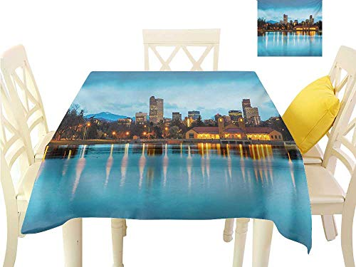 familytaste Wrinkle Free Tablecloths Urban,Downtown Denver Ferril Lake Colorado at The Morning City Park Capital,Sky Blue Yellow Orange Table in Washable Polyester W 54