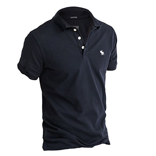 Abercrombie Mens Stretch Icon Polo Shirt Tee  Size L  Navy  625688731