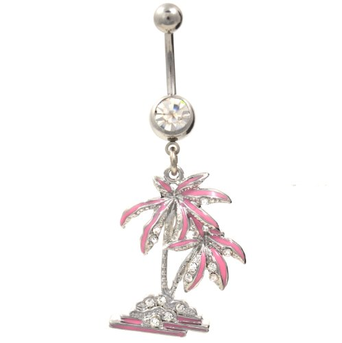 Tropical Coconut Palm Tree Belly Navel Ring Pink CZ Gems Dangle Button Piercing Jewelry