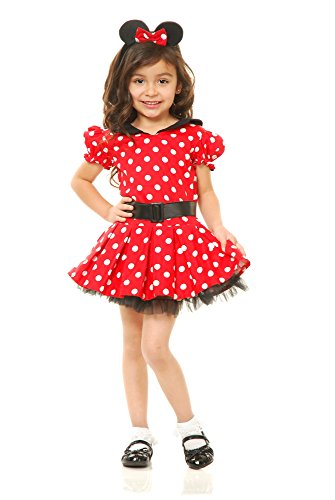 Charades Little Miss Mouse Girl's Costume Dress, Red/White,