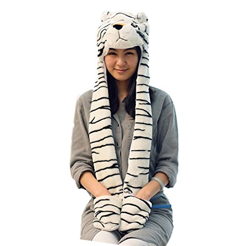 Choose From Over 25 Animals! - Plush Faux Fur Animal Critter Hat Cap - Soft Warm Winter Headwear - Short with Ear Poms and Flaps & Long with Scarf and Mittens Available (Long White Tiger)