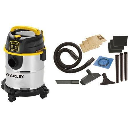 Stanley 5-Gallon 4 Peak Portable Stainless Steel Wet/Dry Vacuum Cleaner, - Products Stanley Outdoor