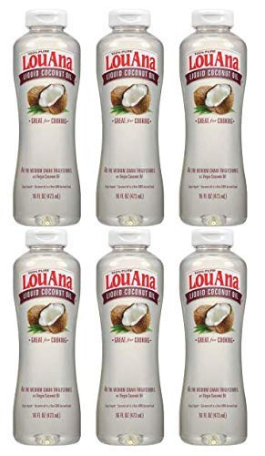 LouAna Liquid Coconut Oil, 16 oz, Great For Cooking (6 Pack) by LouAna