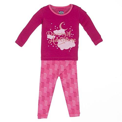 KicKee Pants Little Girls Long Sleeve Pajama Set, Winter Rose Water Fall, 12-18 Months by Kickee Pants