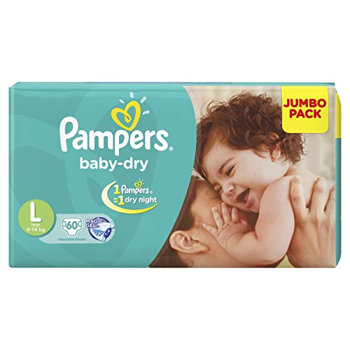 Pampers Baby Dry Diapers Taped Large Size 60 Pieces
