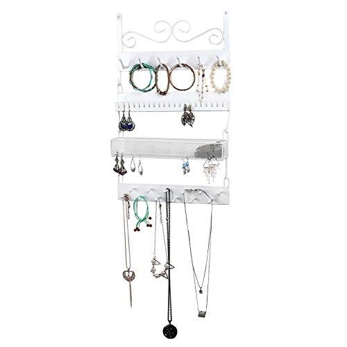 MyGift White Metal Wall-Mounted 4-Tier Jewelry Rack, 18 Hook Earrings, Rings, Necklaces, Bracelets Organizer