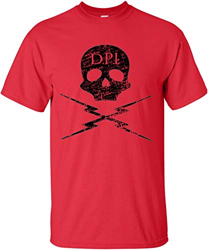 Death Proof Industries Skull Lightning Distressed T-Shirt Tee (Large, Red)