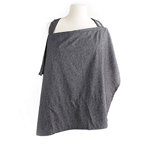 Nursing Cover with Sewn in Burp Cloth for Breastfeeding Infants | Free Matching Pouch | Best Apron Cover Up for Breast Feeding Babies | Covers Up Newborns in Public | 2017 Nappa Winner | Chambray from Kids N' Such