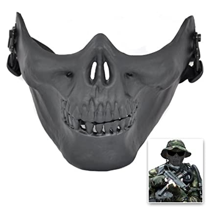 SODIAL(R) Airsoft paintball craneo mascara de esqueleto medio mascarillas arma (Negro)