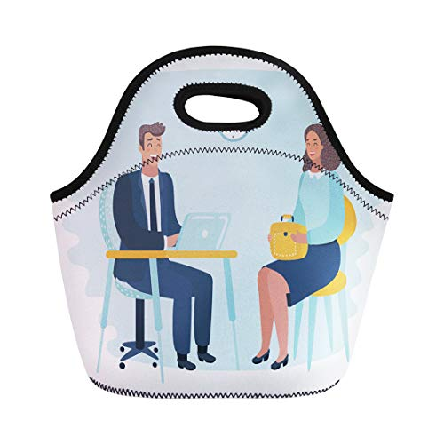 Semtomn Lunch Bags Timid Man at Hated Work Too High Demands Suffers Neoprene Lunch Bag Lunchbox Tote Bag Portable Picnic Bag Cooler Bag
