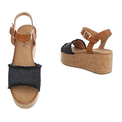 Ital-Design Zapatos Para Mujer Sandalias de Vestir Plano Sandalias con Plataforma Negro