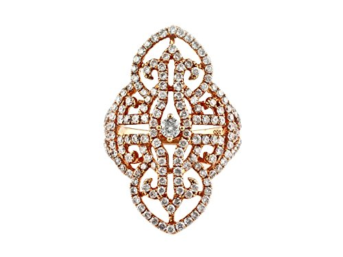 1.88ct Pavé Diamonds 14K Yellow Filigree Fleur-De-Lis Statement Ring (rose-gold, (Fleur De Lis Pave Ring)