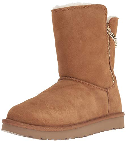 UGG Women's W Classic Short Sparkle Zip Fashion Boot, Chestnut, 8 M - Zipper With Uggs