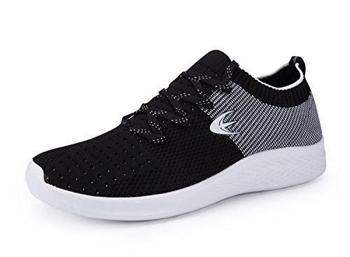 Ezywear Men's Running Shoes Slip on Walking Sneake Breathable Lightweight Footwear Sports Gym Shoes (8.5, Black White)