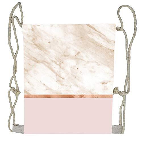 AoshangGardeflag Caramel Marble On Rose Gold Blush Drawstring Bag Men Womens Gym Backpack Vintage Small Bags For Youth