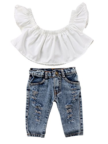 Jeans Top Set Outfit - Baby Girls White Off Shoulder Blouse Top+Destroyed Ripped Jeans Clothes Outfit Set (6-12 Months, B)