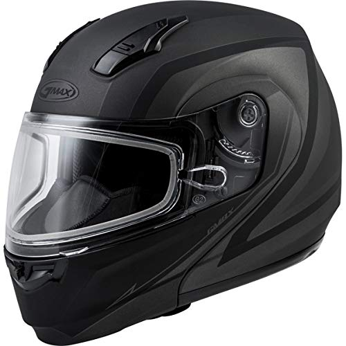 (GMAX MD-04S Modular Docket Snowmobile Helmet - Matte Dark Silver/Black/X-Large)