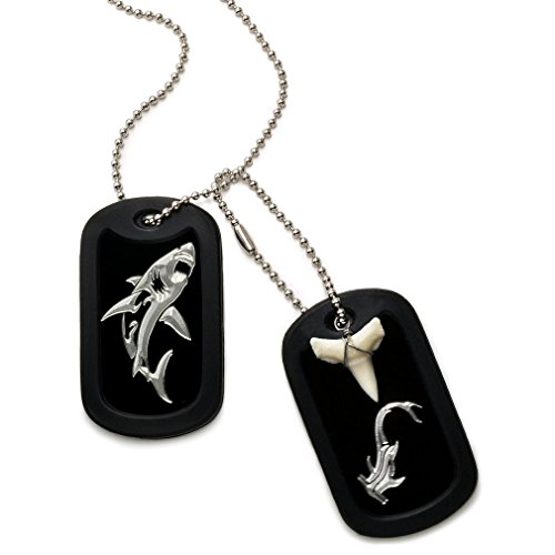 Made in USA Real Shark Tooth Necklace Aluminum Dog Tag with Hammerhead Shark + Great White Shark Design