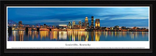Louisville, Kentucky at Twilight - Blakeway Panoramas Skyline Posters with Select Frame - Louisville Cardinals Art Glass