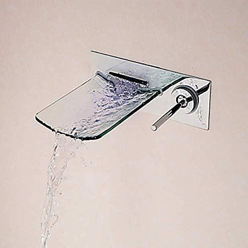 Zxyan 蛇口 立体水栓 バスルーム製品滝クロームウォールは、シングルハンドルのひとつをタップ/真鍮/ガラス現代のクリエイティブ浴室のシンクの蛇口のシンプルで実用的なマウント トイレ/キッチン用