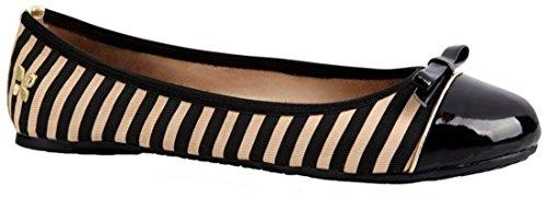 Butterfly Twists Cara Nero Beige Stripe Donne Ballerine Flats Scarpe