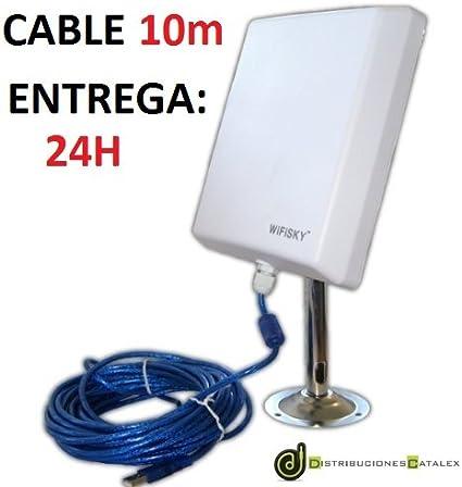 ADAPTADOR WIFI EXTERIOR WIFISKY 2000mw + ANTENA 36dBi. CABLE USB DE 10 METROS